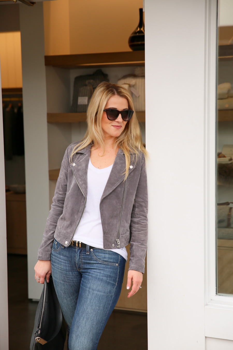 Grey Suede Moto Jacket Outfit - LIDO Newport Beach