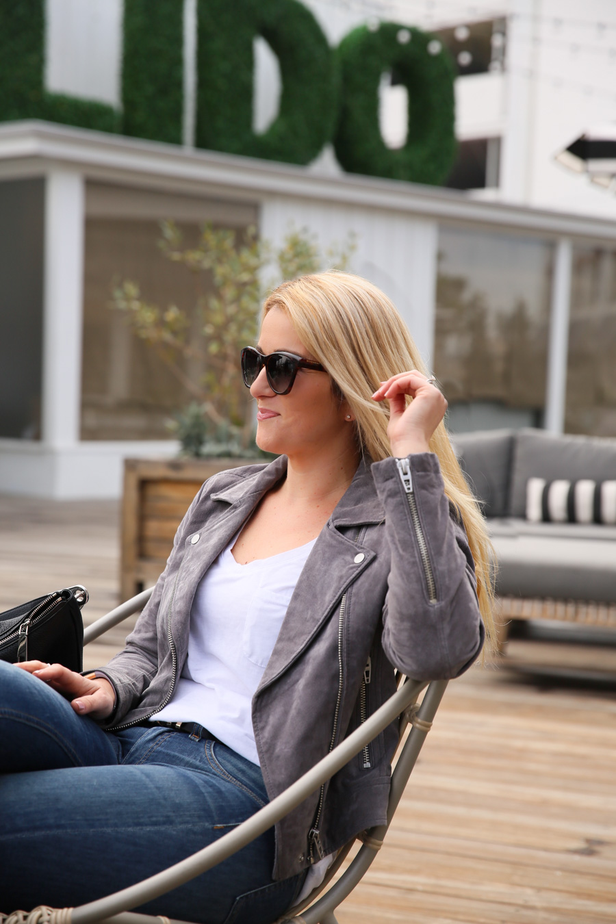 Grey Suede Moto Jacket Outfit