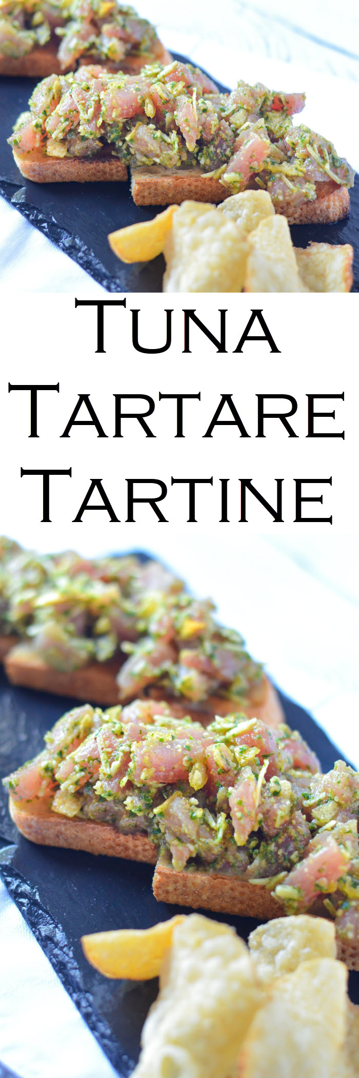 Tuna Tartare Toast Tartine. Sushi grade tuna steak mixed with delicious pesto, and a secret ingredient for flavor and crunch. Also sharing the secret to perfect pesto! - Zinque Cafe #LMrecipes #tuna #sushi #fish #appetizers #recipe #foodblog #foodblogger #healthy #pescetarian #healthyblogger #food