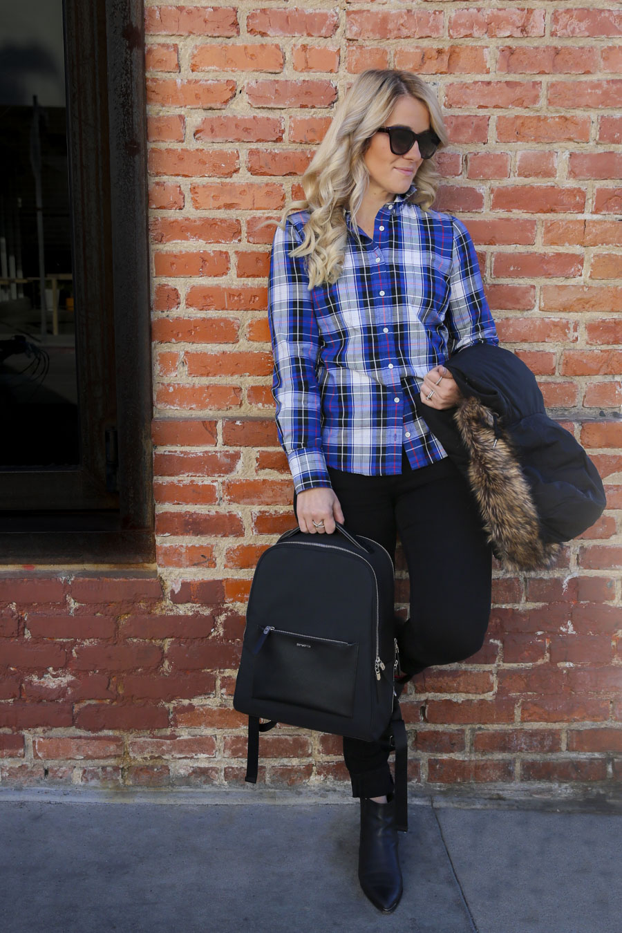 Backpack Outfits for Stylish Women - Plaid Shirt + Vest