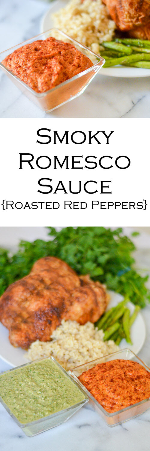 Best Smoky Romesco Sauce Recipe. An easy red pepper sauce recipe for chicken, meat, and vegetables. Great for a bbq or potluck - summer or winter. #sauce #saucerecipe #sidedish #potluckdishes #potluck #bbq #LMrecipes #bellpeppers #roastedbellpeppers #romesco
