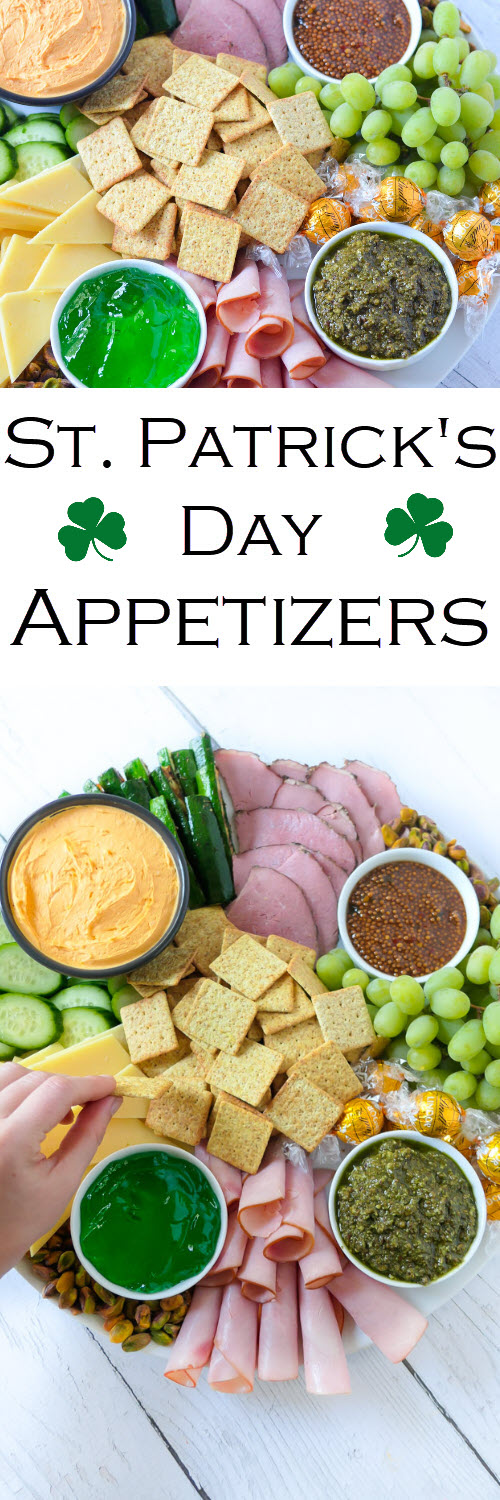 St. Patrick's Day Appetizers Board - Meat + Cheese Platter w. Naturally Green Foods #LMrecipes #appetizer #appetizers #stpatricksday #charcuterie #entertaining #starters #stpattysday #meatandcheese #foodblog #foodblogger