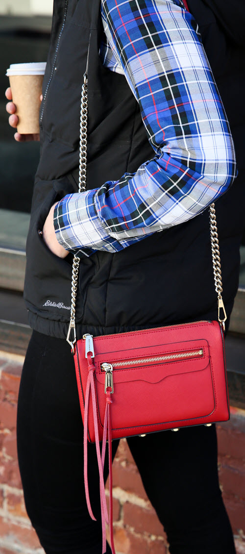 Plaid Shirt with Black Vest Outfit with Red Purse #ootd #ootdshare #outfitideas #outfitshare #fashionblog #fashionblogger #styleblogger #womenover30 #plaidshirt #winterfashion #fallfashion