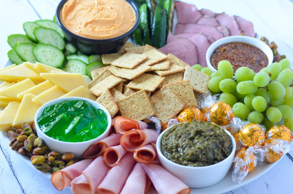 St. Patrick's Day Appetizers Board - Meat + Cheese Platter w. Naturally Green Foods