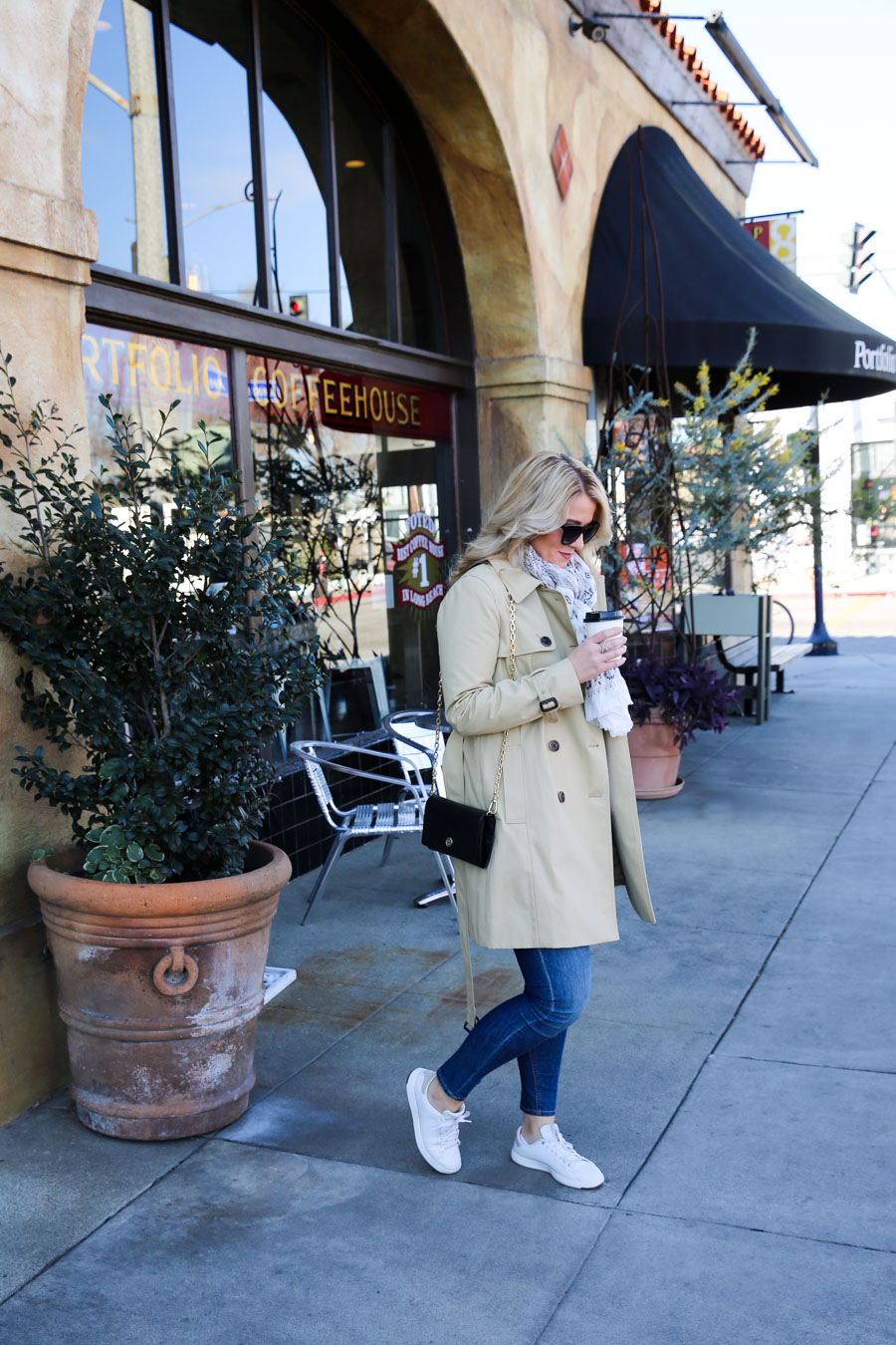 Casual Trench Coat Outfit with Sneakers + Jeans