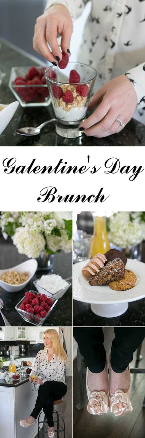 Super Simple Galentine's Day Brunch Setup. Celebrate your girlfriends with this ladies brunch setup. Semi-homemade everything and a brunch sangria recipe!