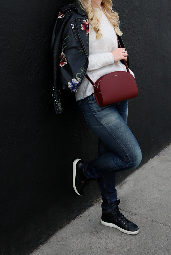 Black Sneakers Outfit for Women with Jeans + Leather Jacket. A great early spring outfit for women over 30. A casual leather jacket outfit. #fashionblogger