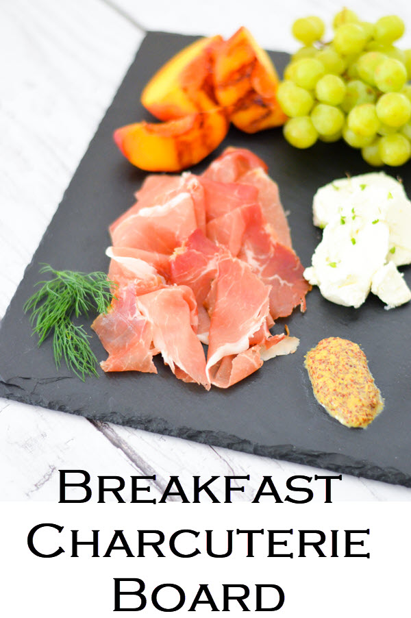 Breakfast Charcuterie Board w. Shopping List. Brunch Charcuterie Board for Breakfast - Shopping List + layout w. three cured meats, 2 cheese, toppings, and fruits to serve!