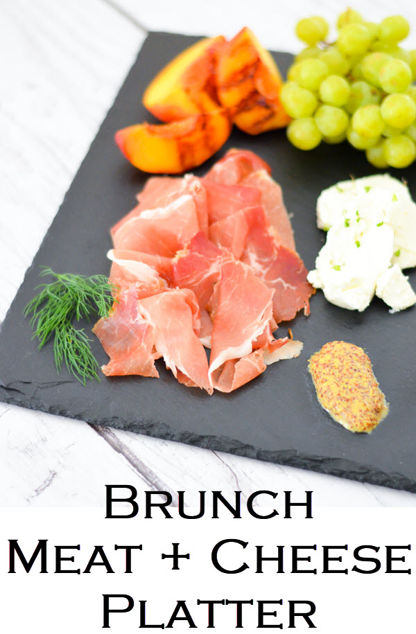Brunch Meat + Cheese Platter. Brunch Charcuterie Board for Breakfast - Shopping List + layout w. three cured meats, 2 cheese, toppings, and fruits to serve!