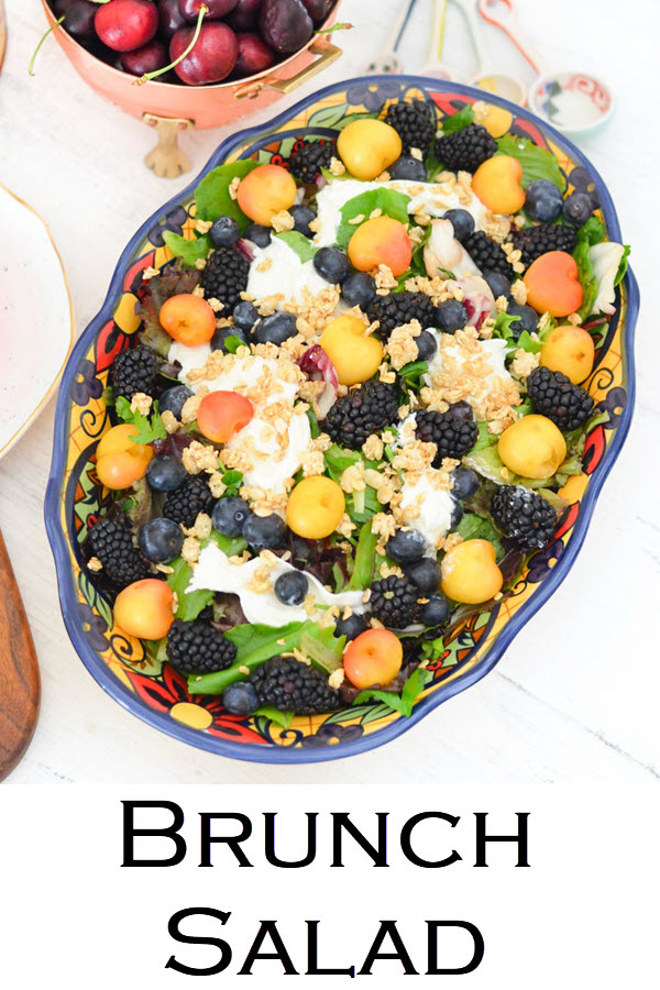 Brunch Salad Recipe. Blackberry, Blueberry, Cherry Burrata Breakfast Salad Recipe. A healthy and delicious salad for brunch or lunch with friends. An easy fruit salad with lettuce and burrata.