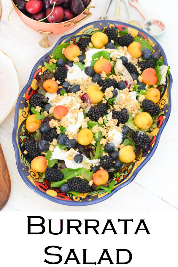 Burrata Salad Recipe. Blackberry, Blueberry, Cherry Burrata Breakfast Salad Recipe. A healthy and delicious salad for brunch or lunch with friends. An easy fruit salad with lettuce and burrata.