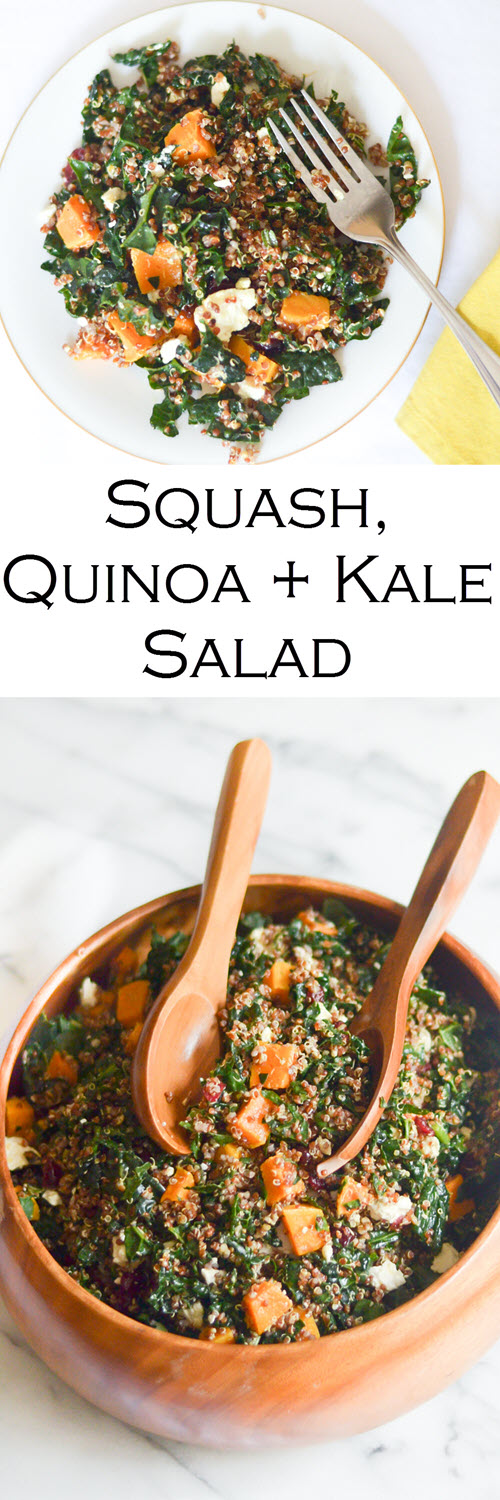 Butternut Squash Salad. Butternut Squash, Quinoa, and Kale salad. Delicious Thanksgiving side dish full of superfoods!