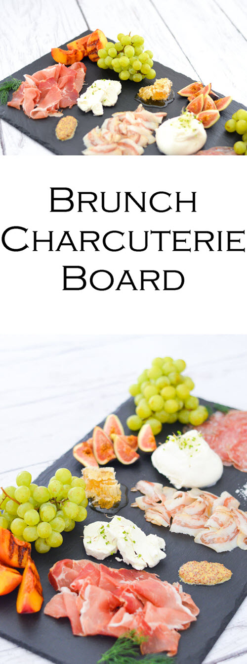 Charcuterie Board for Brunch. Brunch Charcuterie Board for Breakfast - Shopping List + layout w. three cured meats, 2 cheese, toppings, and fruits to serve!