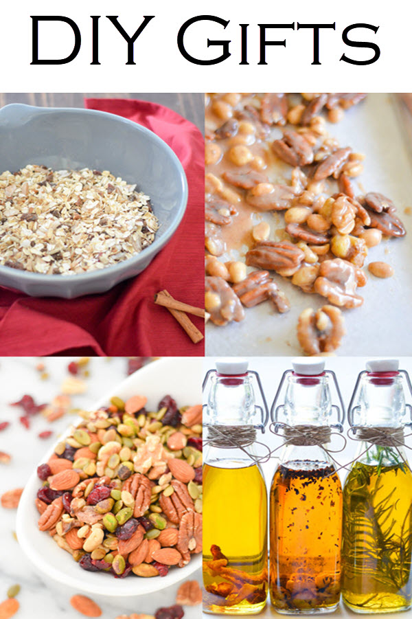DIY Gift Ideas. Edible gifts you can make last minute can be the most memorable. Homemade sugared nuts, muesli, infused olive oil, and so much more with homemade gift packaging ideas.