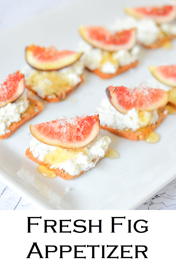 Salted Honey + Fig Appetizer on Crackers. This Goat Cheese Crackers + Fresh Fig Appetizer is a delicious and easy way to use fresh figs. Make on small crackers or big, this elegant cocktail party recipe is delicious!