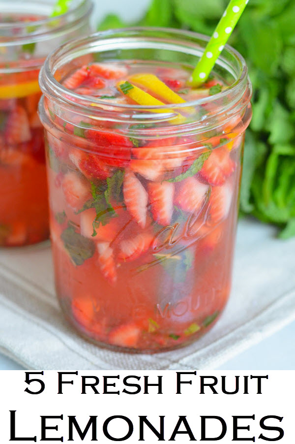 Fresh Fruit Lemonade Recipe Roundup. Lemonade recipes for summer, winter, and spring. Delicious non-alcoholic drinks for kids and grownups. The perfect party drink recipes.