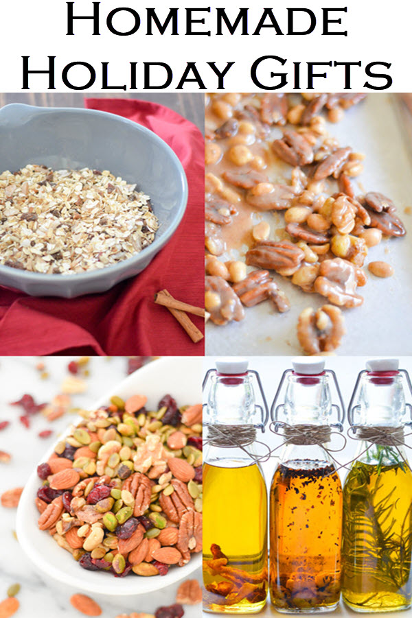 Homemade Holiday Gift Ideas. Edible gifts you can make last minute can be the most memorable. Homemade sugared nuts, muesli, infused olive oil, and so much more with homemade gift packaging ideas.