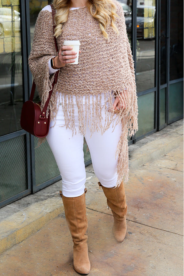Knit Poncho Outfit w. White Jeans + Boots.. Early spring outfit ideas for women over 30. White jeans and boots with knit shawl. #ootdshare