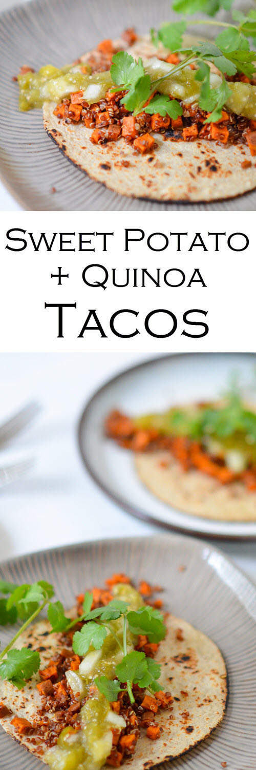 Sweet Potato + Quinoa Soft Tacos w. Tomatillo Salsa. . This healthy and fast dinner is great for Taco Tuesday and any nght of the week. Roasted sweet potato recipe with quinoa. Topped off with roasted tomatillo salsa for a delicious, healthy, vegetarian dinner recipe.