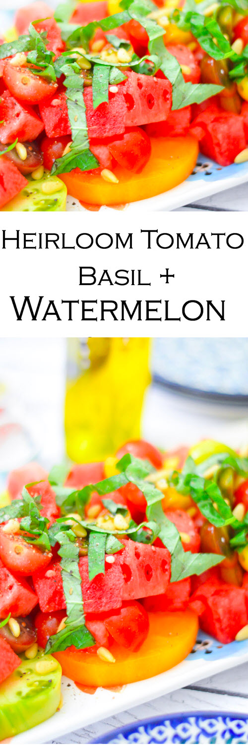 Tomato, Basil, + Watermelon Salad. A perfect summer salad with heirloom tomatoes and watermelon. A delicious salad to serve guests on a warm evening. Great salad for potlucks and bbqs.