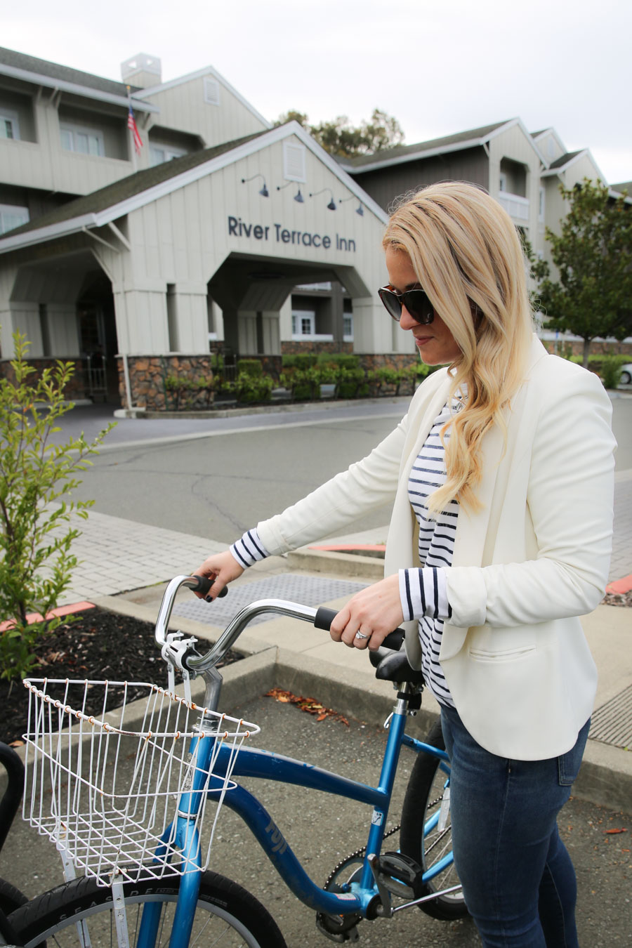 What to Wear in Wine Country Bike Riding - Striped Shirt + Jeans