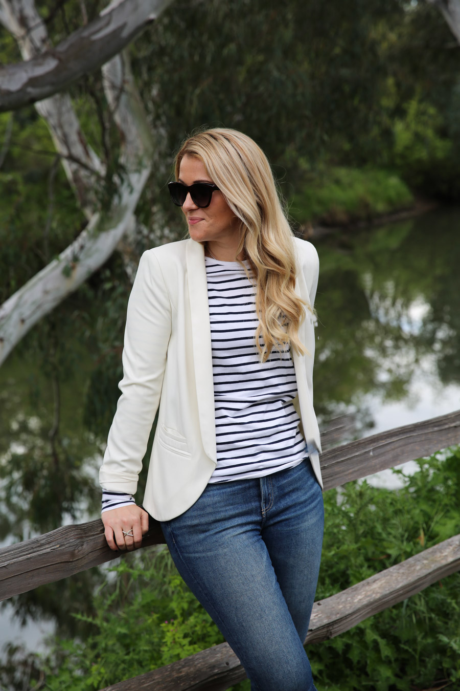 What to Wear in Wine Country - Striped Shirt + White Blazer