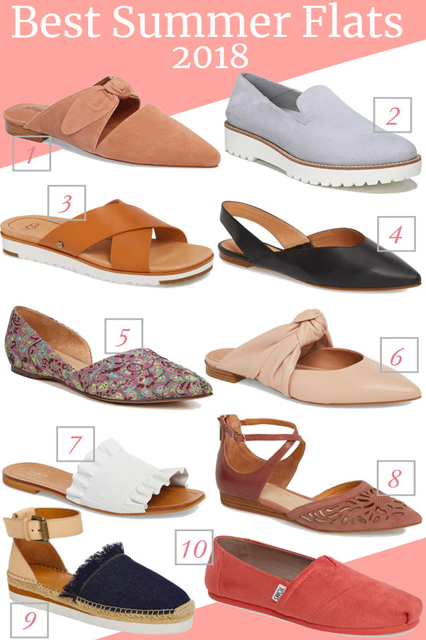 Best Summer Flats for Summer 2018. Get mules, slide sandals, espadrilles, and flats with bows. No matter your summer style, you'll find the perfect flat shoe!