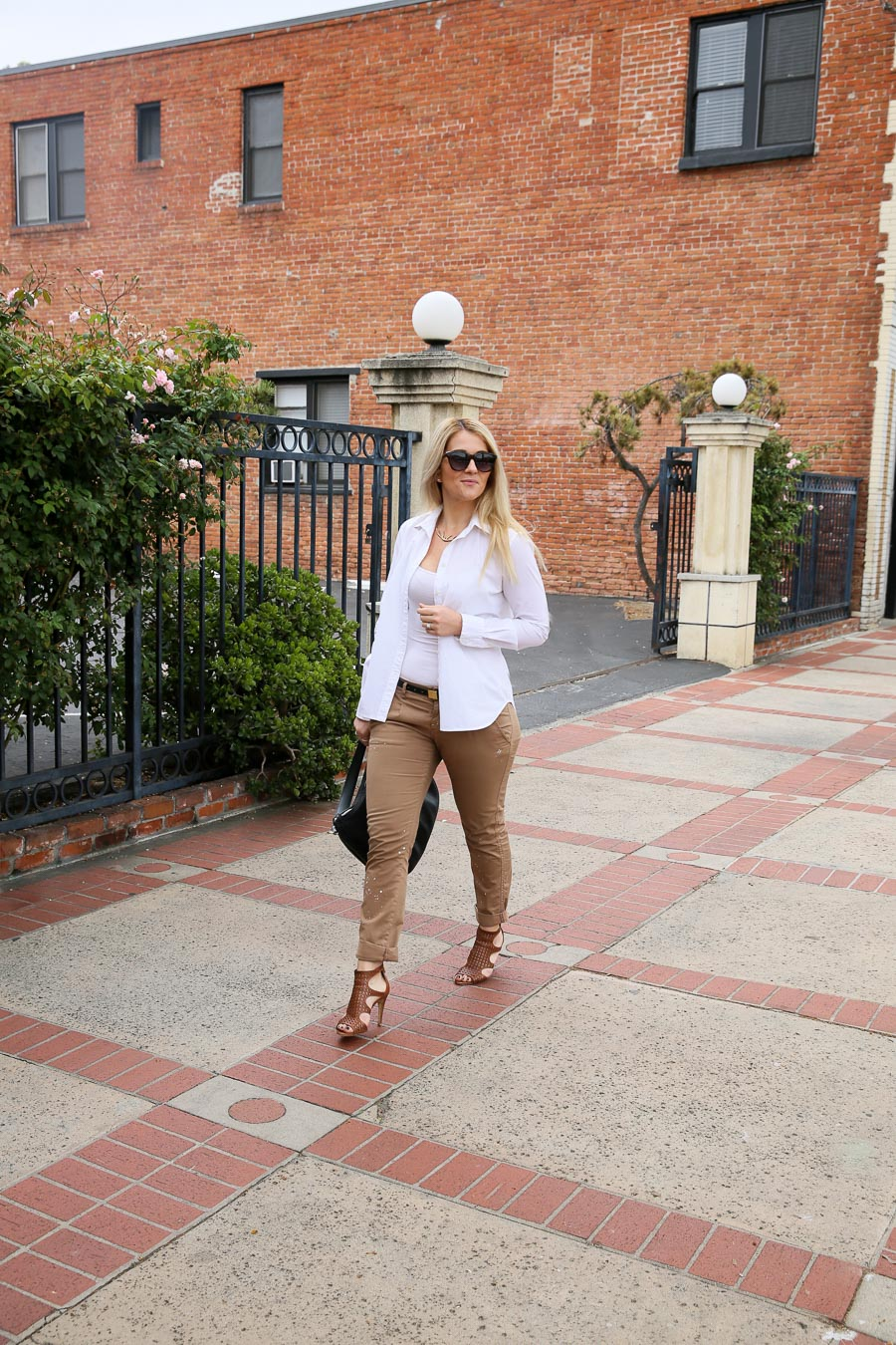 Khaki Pants Outfit with White Shirt for Women