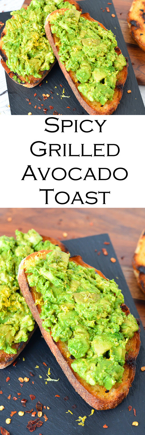 BBQ Grilled Avocado Toast - Avocado on Spicy Grilled Bread. A fun twist on hippie toast - avocado toast with sourdough and chili flakes. A great camping breakfast recipe. #camping #grill #Grilled #grilling #sumemr #avocado #avocadotoast #plantbased #vegan #vegetarian