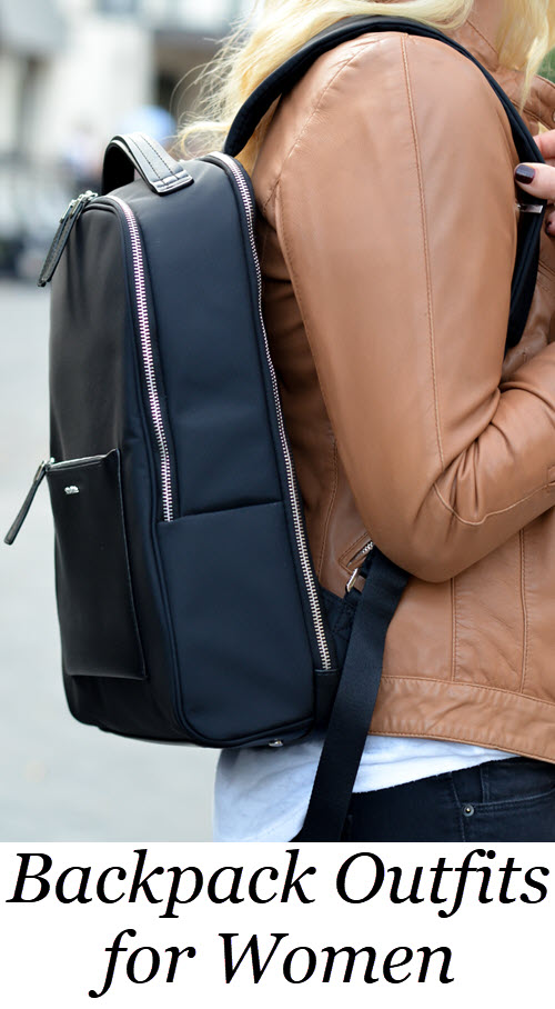 5 Ways to Wear a Backpack. Backpack Outfits for Women. Backpack Outfits for Stylish Women. See how to stylishly wear a backpack from workout wear to plaid shirt and fur vests. #outfitideas #outfitshare #backpack #accessories #accessory #womensfashion #womensstyle #fashionblog #fashionblogger