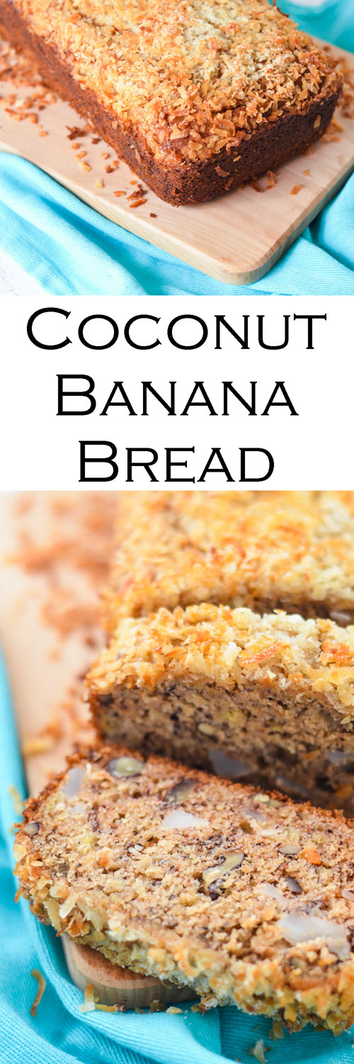 Coconut Banana Bread made with fresh, young coconut. Delicious tropical spin on banana bread! #bananabread #breakfast #brunch #homemade #banana #coconut #foodblog #recipe #LMrecipes #foodblogger #bread