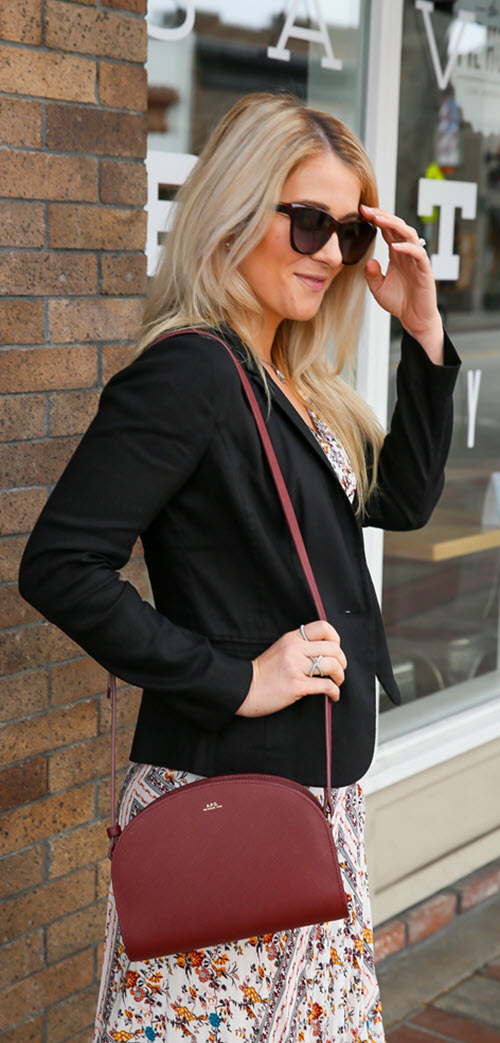 Maxi Dress and Blazer Outfit with Black Slide Sandals. Comfortable black slides for summer with outfit ideas. Casual, work appropriate work out for summer. Burgundy APC Demi lune Crossbody Bag. Designer FitBit Band. #fashion #fashionblog #womensstyle #summerfashion #ootd #ootdshare
