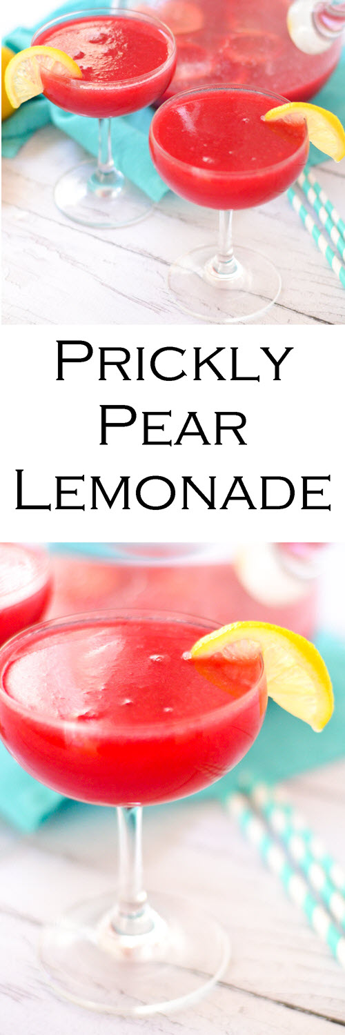 Prickly Pear Lemonade Recipe Made w. Cactus Pears. Looking for a fun lemonade recipe, a recipe for prickly pears, or a fun cocktail mixer to serve at a party? Try this prickly pear lemonade. Mixed well with vodka, rum, gin, and whisky! #cocktails #mocktails #lemonade #drinks #drinkrecipe #foodblog #foodblogger