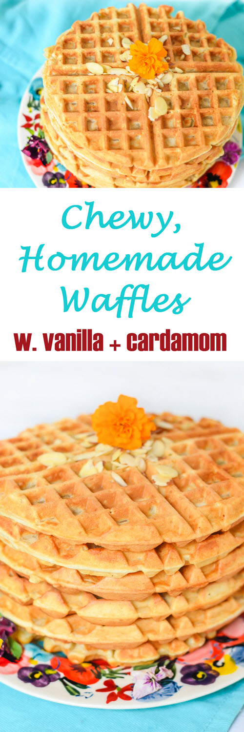 Chewy Homemade Waffles w. Cardamom + Honey make for an easy but decadent tasting breakfast. Invite friends over for brunch or just enjoy them on your own! #breakfast #brunch #waffles #recipe #foodblog #foodblogger #lmrecipes