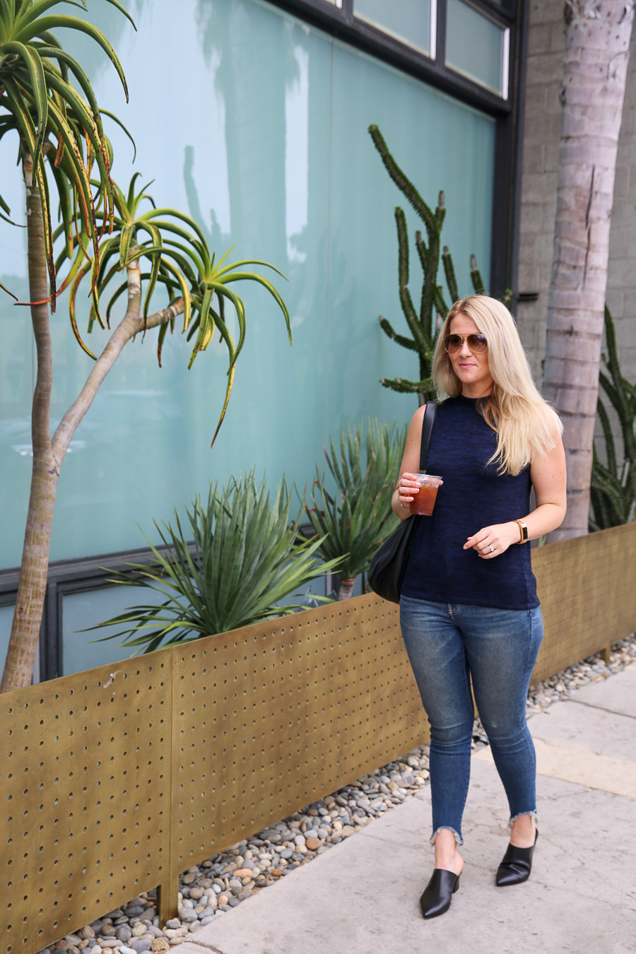 AGL Black Mules Outfit with Jeans