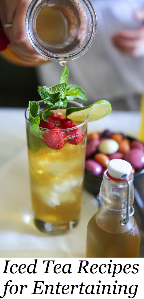 Healthy Iced Tea Recipes for Summer Entertaining. Looking for summer drinks without alcohol? Try these easy iced tea drinks. Add these natural sweeteners to iced tea for an easy, elegant, summer entertaining idea. #ntertaining #summer #icedtea #tea #drinks #recipes #foodblog #foodblogger #delicious #lmrecipes