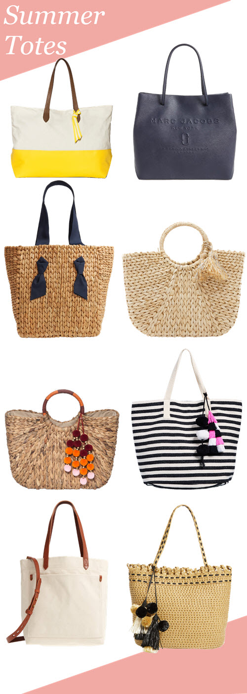 Best Summer Totes for women. A curated selection of beach bags and summer tote purses from Target and Nordstrom. Straw bags, Leather totes, and beach bags for women. #summerfashion #summerstyle #accessories #purses #handbags #fashionblog #fashionblogger #rewardstyle #liketkit