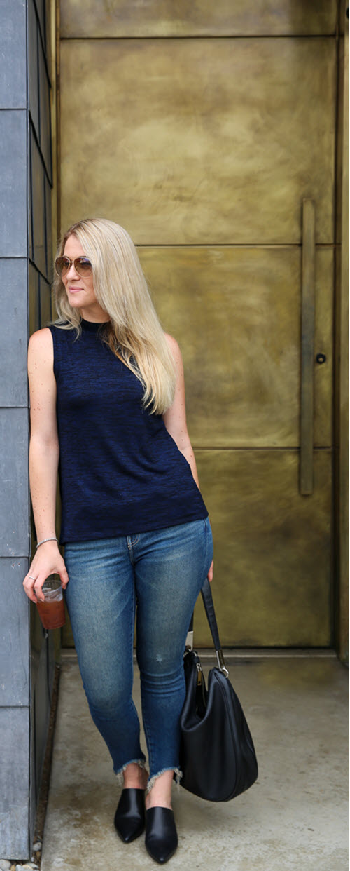 AGL Black Mules Outfit with Jeans. A great summer outfit with jeans for women. This outfit idea for black mules is great for every woman. #ootdshare #fashionblog #fashionblogger #jeans #mules #trendy #outfitideas #losangeles #california #currentelliott #agl #ragandbone