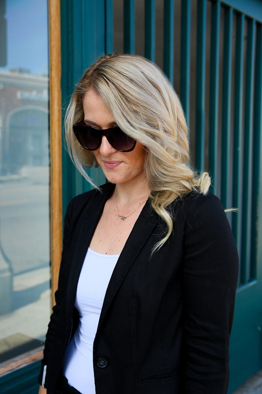 Black Blazer and Wide Leg Pants Outfit for Work