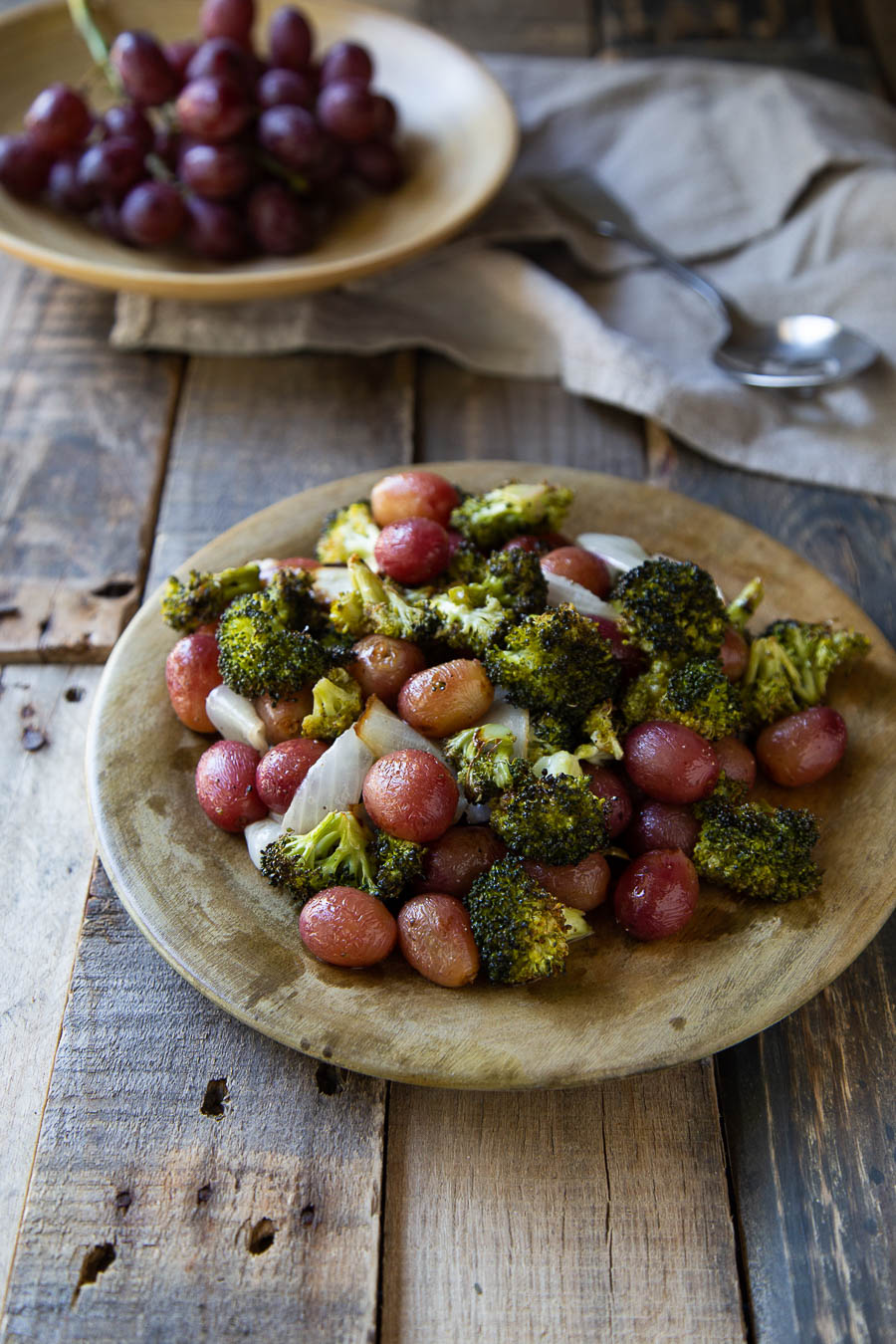 Roasted Broccoli Salad with Grapes