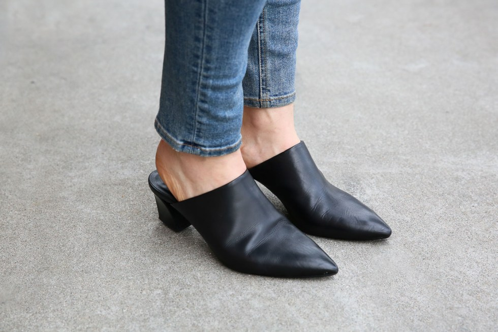 How to Wear Long Shirts w. Leather Jacket and Jeans - AGL Black Mule Slides