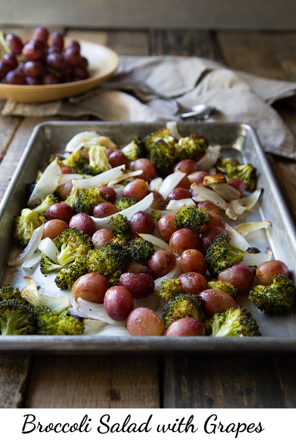 Roasted Broccoli Salad with Grapes. This delicious fall salad is full of flavor and it's healthy! Serve as an appetizer salad or side dish. You'll love this fall recipe with broccoli, grapes, and onions. #broccoli #broccolisalad #grapes #roasting #salad #appetizer #sidedish #thanksgiving #healthyrecipe #lmrecipes