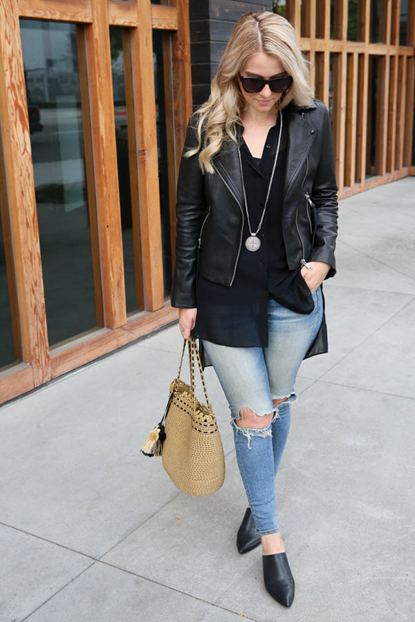How to Wear Long Shirts w. Leather Jacket and Jeans - AGL Black Mule Slides. All Saints black leather jacket with Rag & Bone distressed skinny jeans. A great fall outfit for women, the city street style is perfect for every style. #denim #denimblogger #leatherjacket #womensoutfitideas #outfitideas #ootdshare #outfitshare #fashionblog #fashionblogger #womensstyle #fallfashion #fallstyle #winterstyle