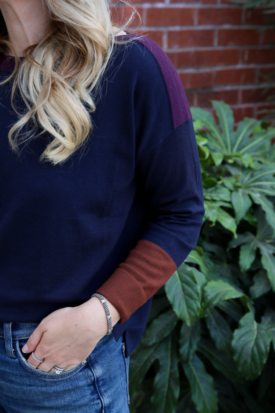 Color Block Sweater Outfit with Jeans