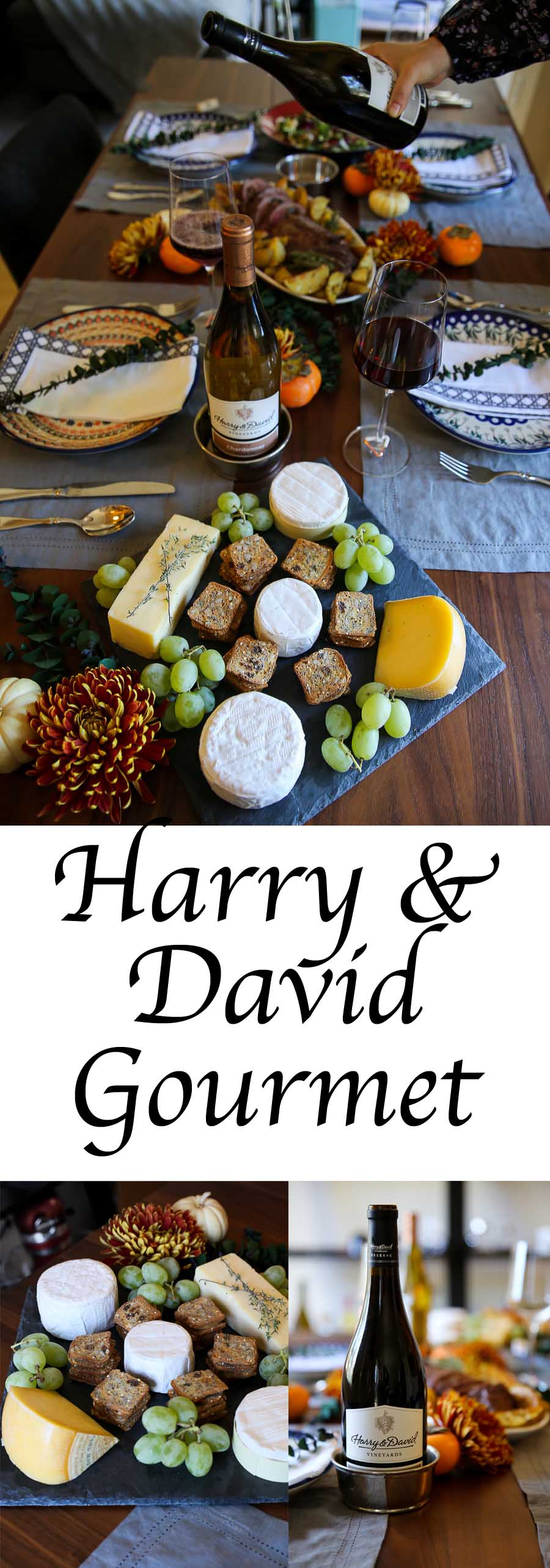 Harry and David Gourmet Dinner Delivery Review. Chateaubriand, California Cowgirl Creamery Cheese Plate, and Wine Collection. A delicious dinner for guests and to send others. #harryanddavid #chateaubriand #beed #cheese #cheeseplate #entertaining #houseguests #holidays #tablescape #falldecor #wine #entertainathome #entertain