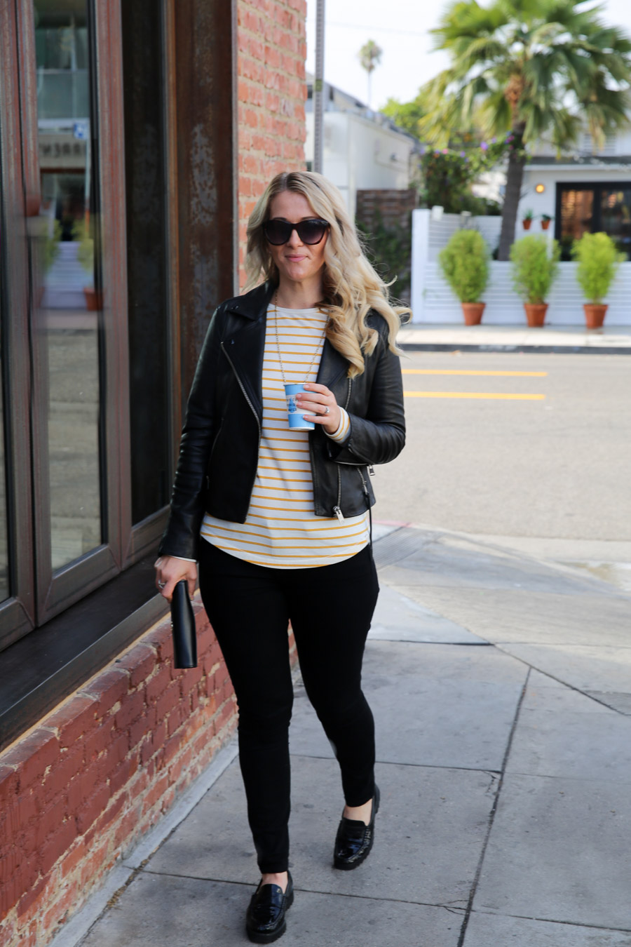 Yellow Striped Shirt Outfit w. Leather Jacket and Jeans