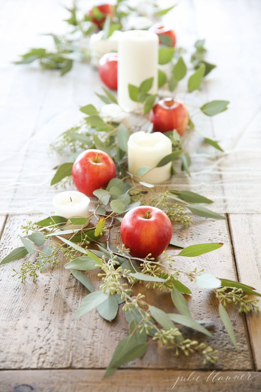 Thanksgiving Table Decor Ideas - Apple Eucalyptus Table Runner