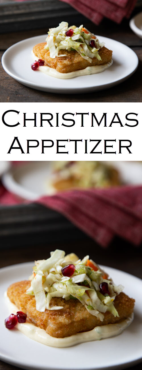 Fish Starter with Winter Slaw. Great for any occasion, this easy fish fillet appetizer comes together quickly and is beautiful to present. It's the perfect Christmas Appetizer full of festive colors and seasonal flavors (fresh orange and pomegranate seeds/arils recipe). #Christmas #christmasrecipes #appetizers #fish #fishrecipes #starters #friedfish #holidayparty