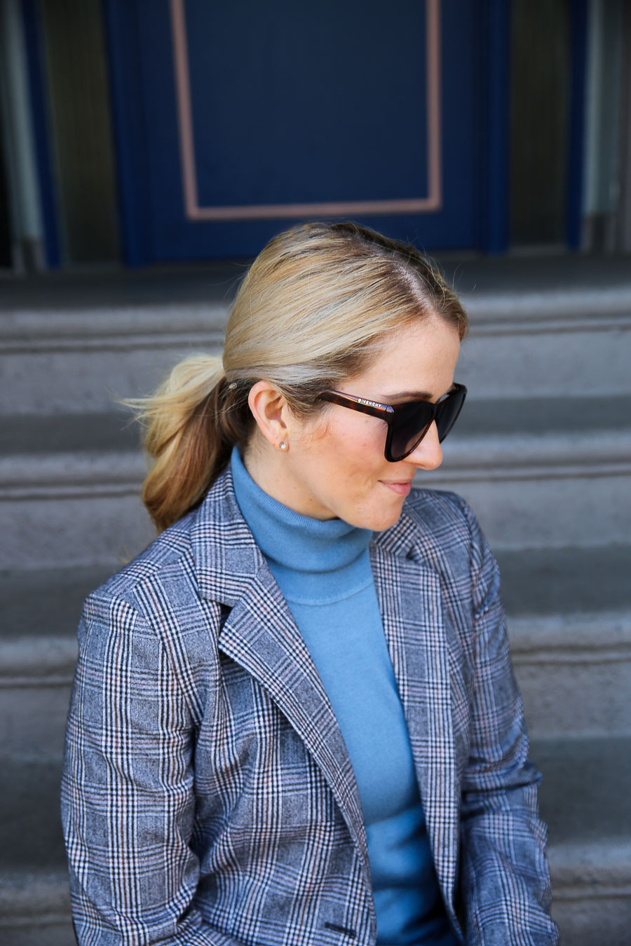 Sustainable fashion at Nordstrom Anniversary Sale - Luci in Blue turtleneck and plaid blazer