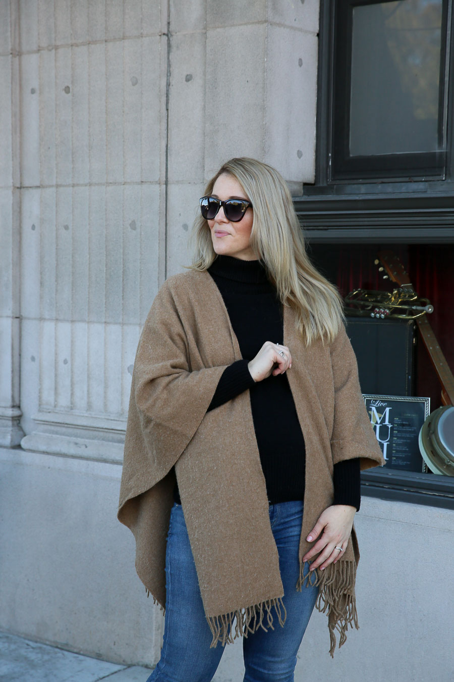 Layered Winter Outfit for Women with Shawl, Turtleneck, and Jeans